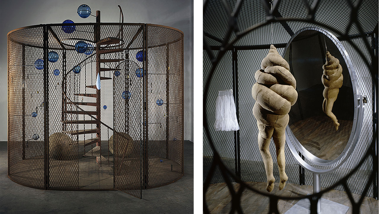 On the left Louise Bourgeois, Cell (The Last Climb), 2008, National Gallery of Canada, Ottawa and on the right CELL XXVI, 2003 (detail), Collection Gemeentemuseum Den Haag, The Netherlands
