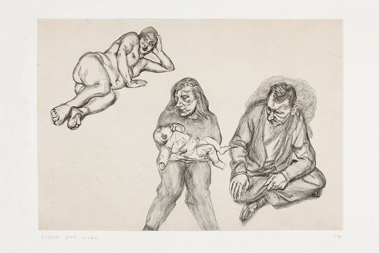 Lucian Freud, Four Figures, 1991, Etching, Edition of 40