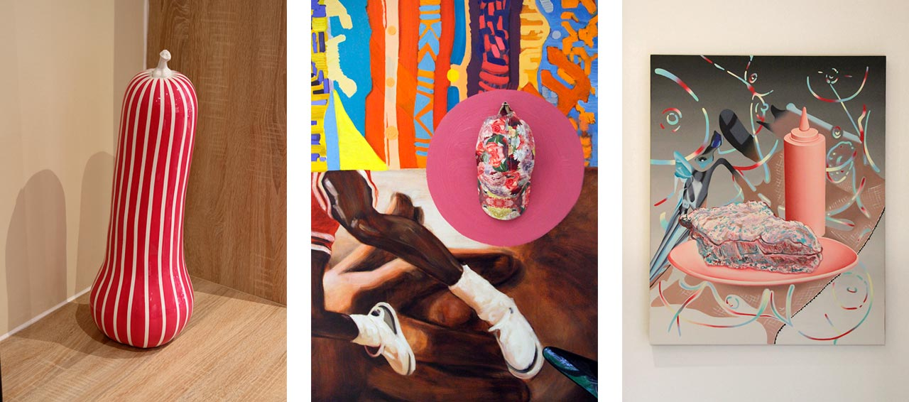 Left: Painted bronze sculpture by Jonathan Trayte. Center: Detail of Zadie Xa painting. Right: Painting by Jane Hayes Greenwood. Images: © Kâthe Kroma