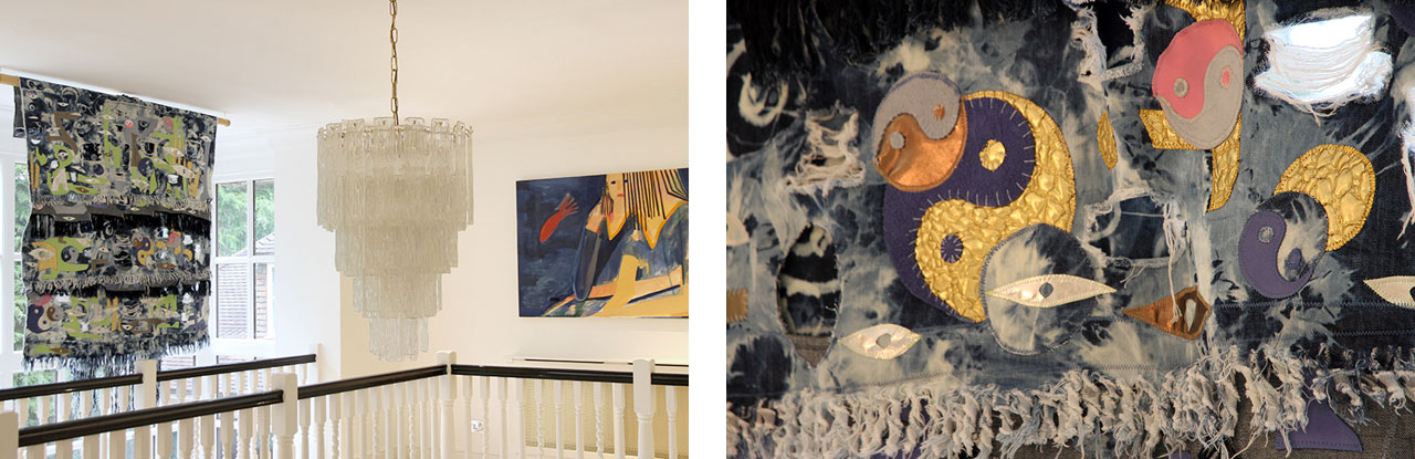 Left: Textile work by Zadie Xa, and painting by Gabriella Boyd. Right: Detail of Zadie Xa textile work. Images: © Kâthe Kroma