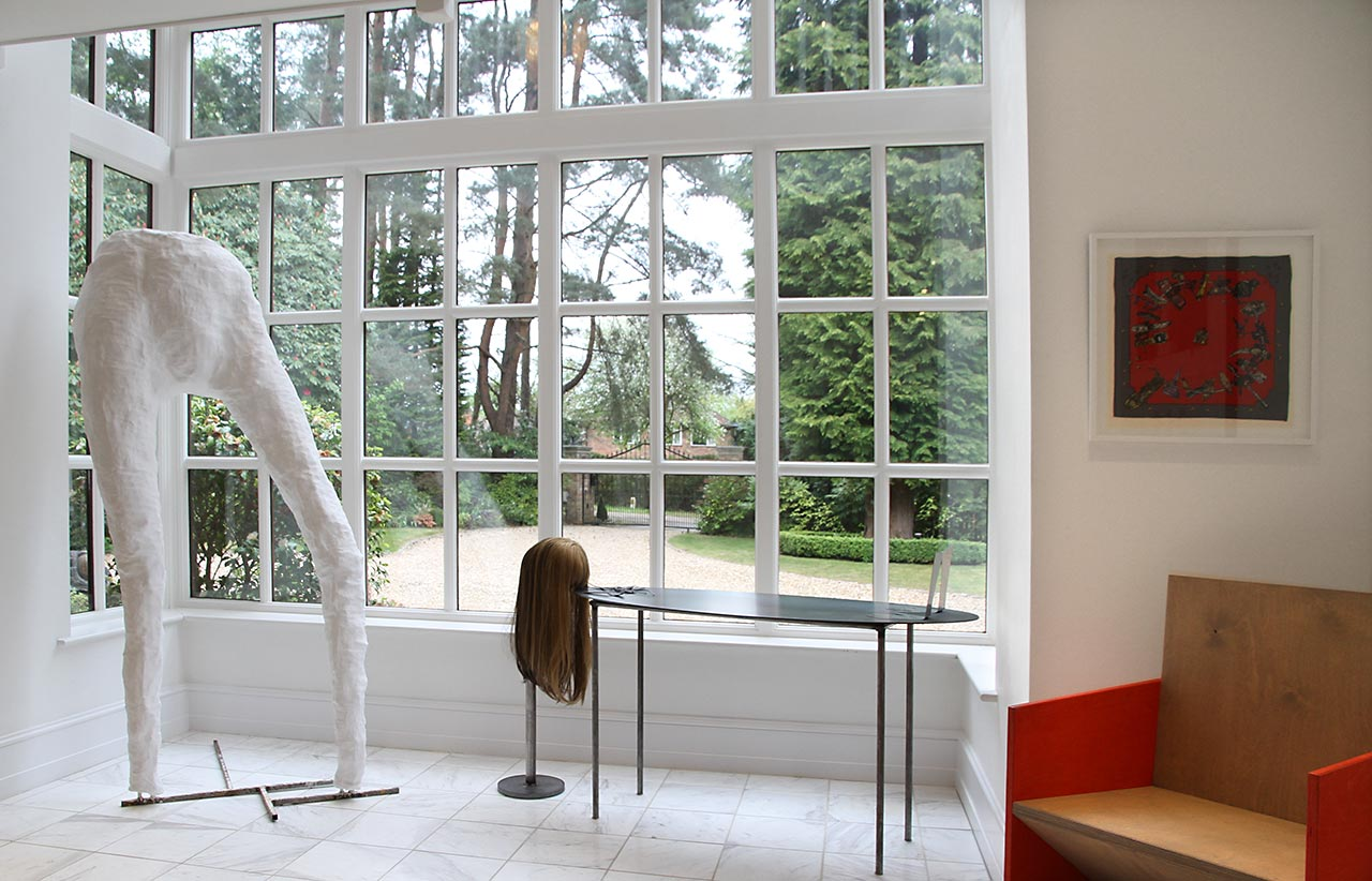 From left to right: sculptures by Rebecca Ackroyd and Kira Freije, scarf work by Pio Abad. Image: © Kâthe Kroma