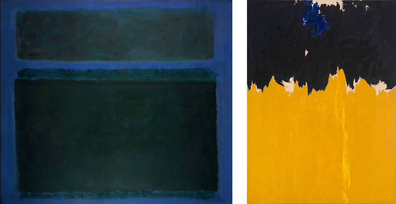 On the left Mark Rothko, No. 15, 1957, Oil on canvas, and on the right Clyfford Still, PH-950, 1950, Oil on canvas