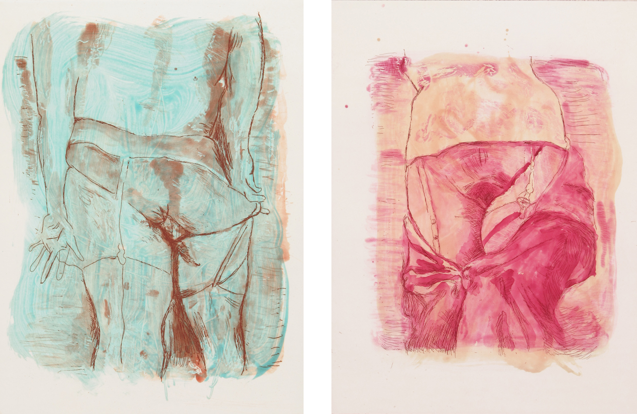 Left: Martin Kippenberger, Hinter, 1996, Aquatint etching. Right: Martin Kippenberger, Hinter, 1996, Aquatint etching