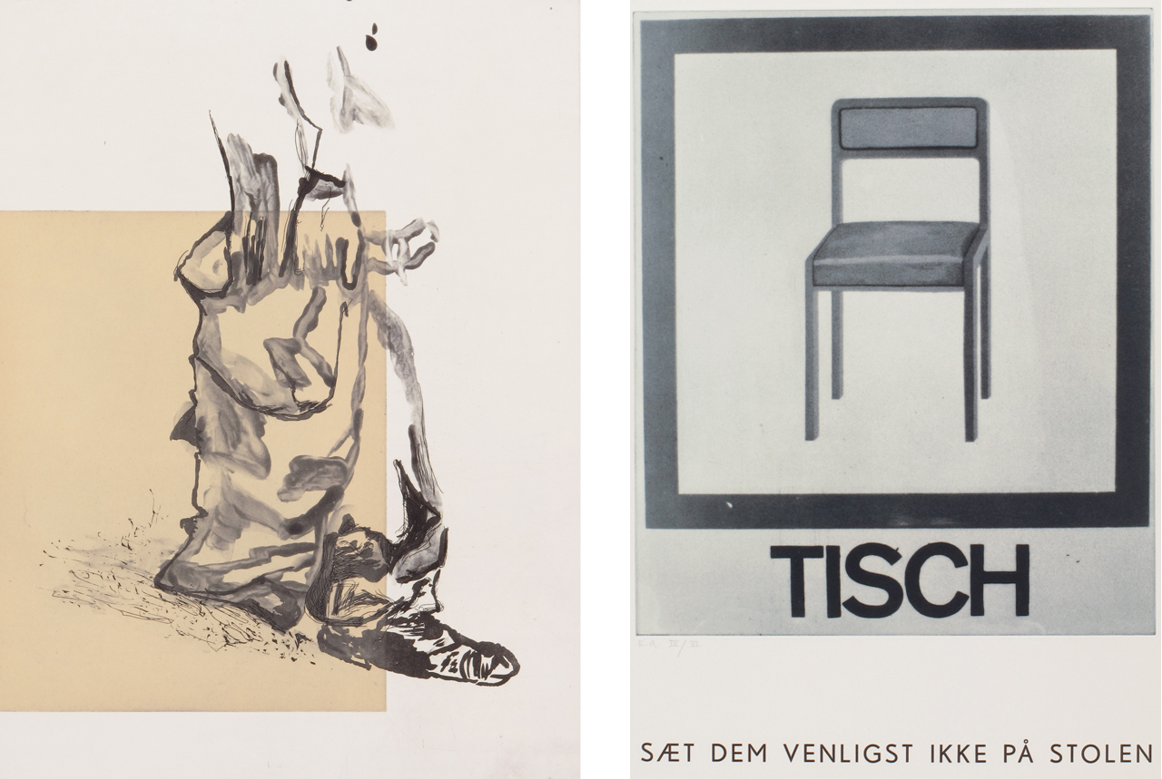 Left: Martin Kippenberger, Hose, 1996, Aquatint etching. Right: Martin Kippenberger, Tisch, 1996, Photogravure letter type