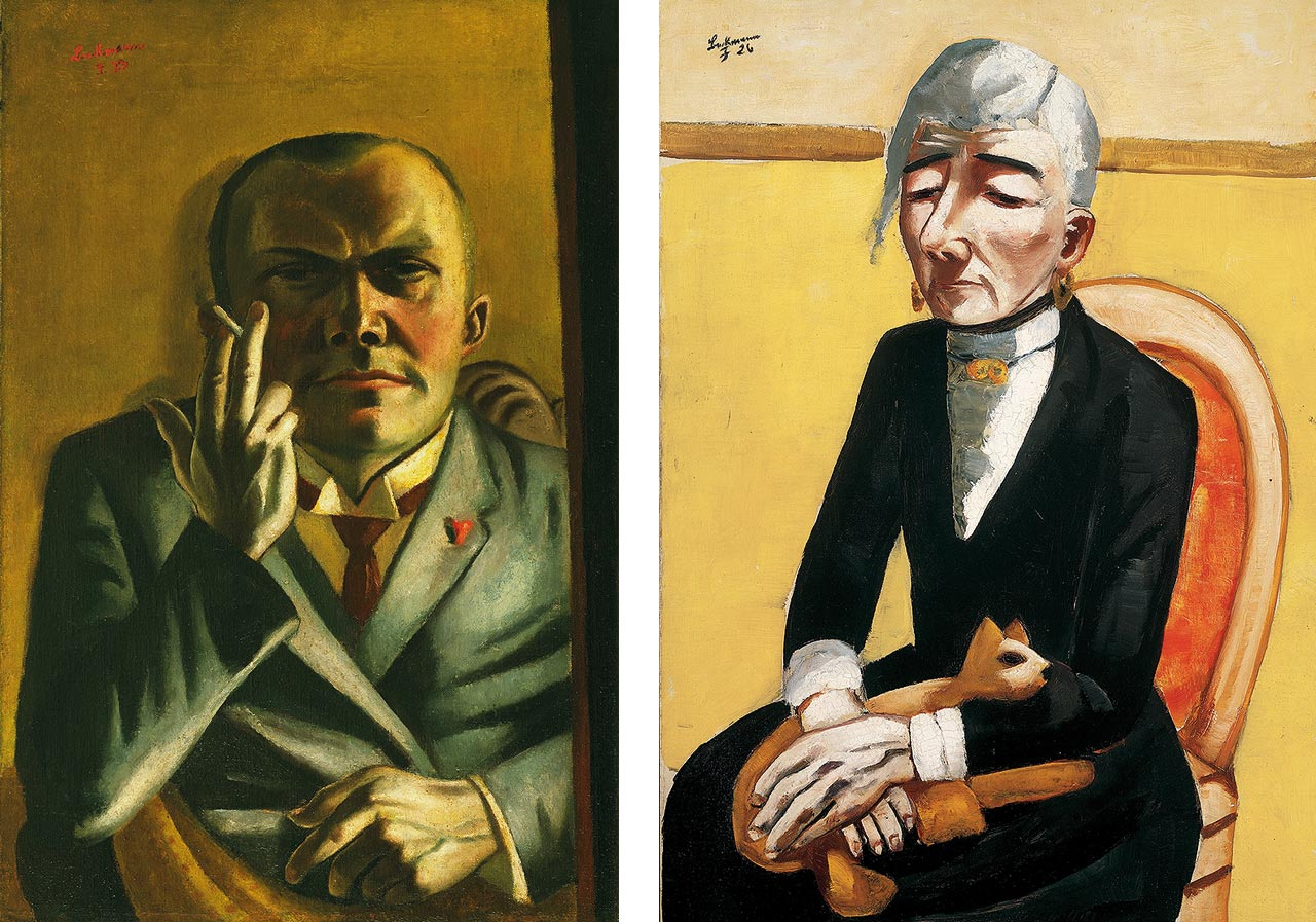 On the left Max Beckmann, Self-Portrait with a Cigarette, 1923 and on the right Max Beckmann, The Old Actress, 1926