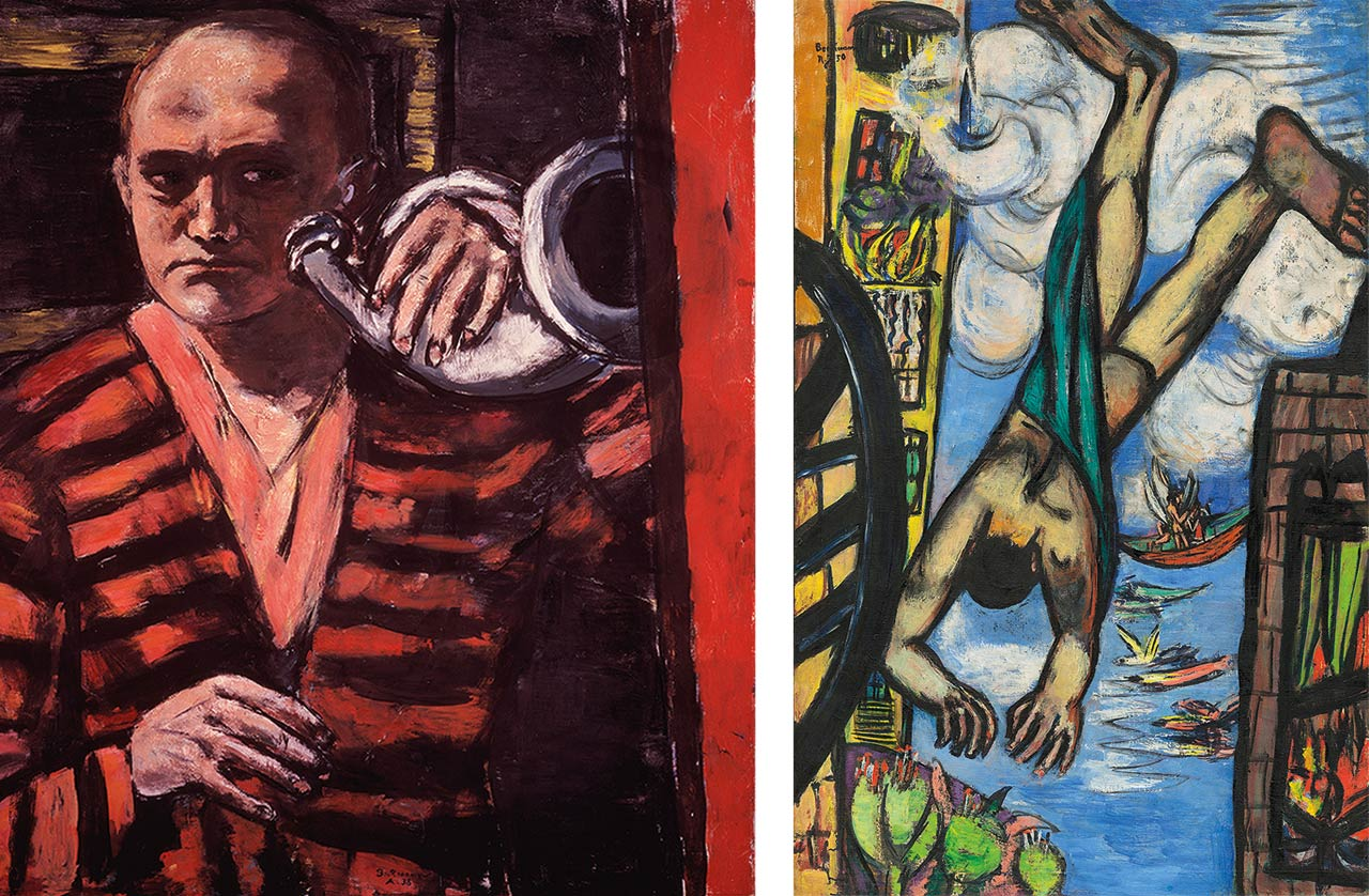 On the left Max Beckmann, Self-Portrait with Horn, 1938 and on the right Max Beckmann, Falling Man, 1950