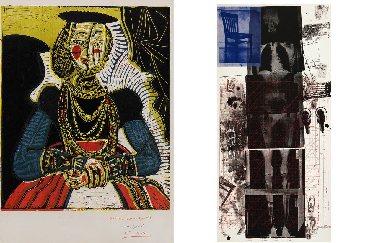 On the left Pablo Picasso, Portrait De Jeune Fille, D'après Cranach Le Jeune. II, 1958 and on the right Robert Rauschenberg, Booster, 1967