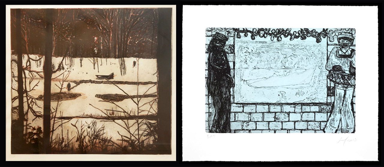 Left: Peter Doig, Almost Grown, 2001, Etching and aquatint, Edition of 28. Right: Peter Doig, Sea Lots, 2013, Etching and aquatint, Edition of 20 + 5 AP