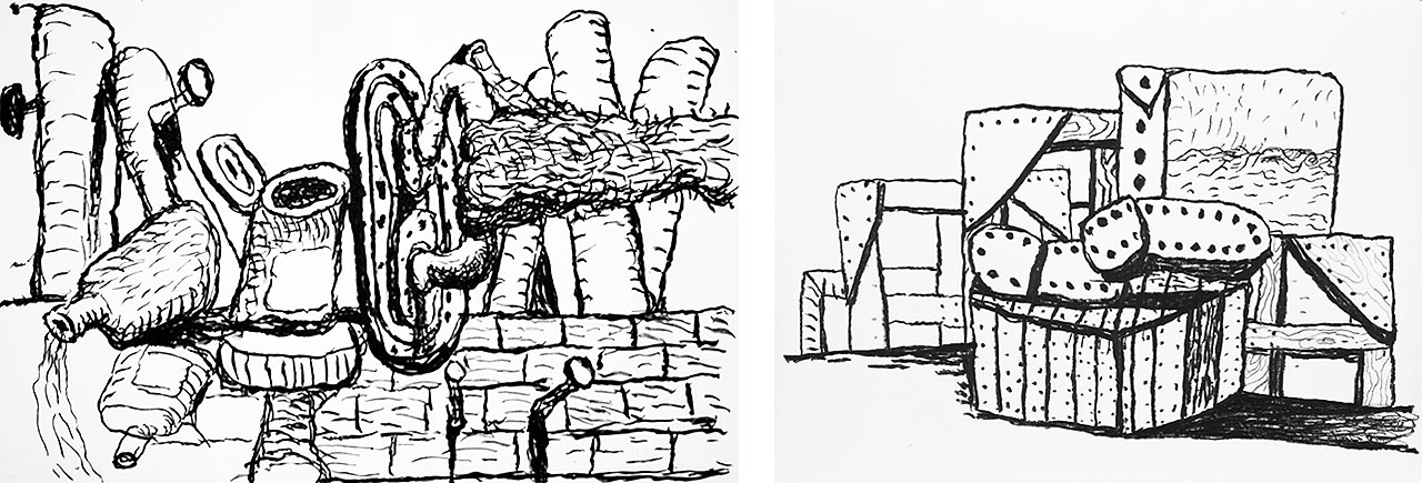 On the left Philip Guston, Scene, 1980, Lithograph, and on the right Philip Guston, Studio Forms, 1980, Lithograph