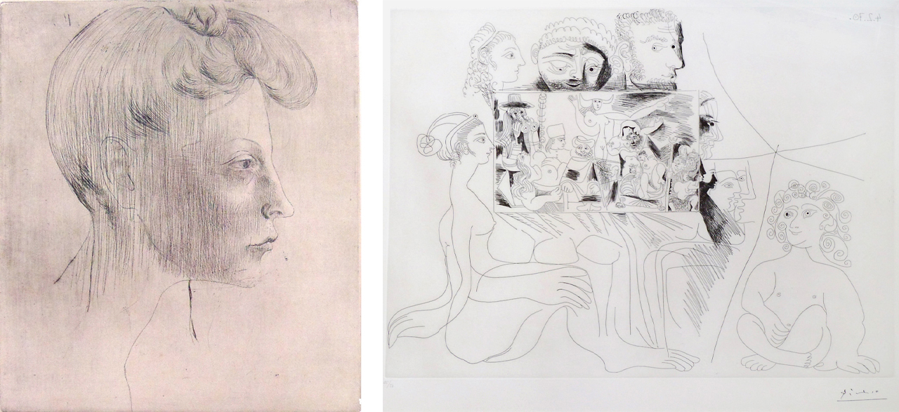 Left: Pablo Picasso, Head of Woman, In Profile, (Tête de femme, de profil), 1905, Etching. Right: Pablo Picasso, Woman, Child and Observers Viewing Painting, 1970, Etching