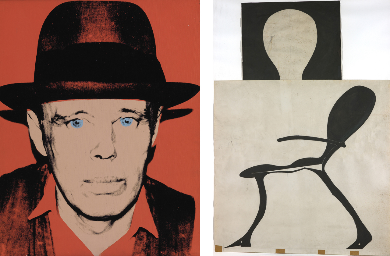 Left: Andy Warhol, Portrait of Joseph Beuys, 1980, Acrylic paint and silkscreen. Right: Joseph Beuys, Brightly-Lit Stag Chair, 1957-1971, Oil paint, graphite