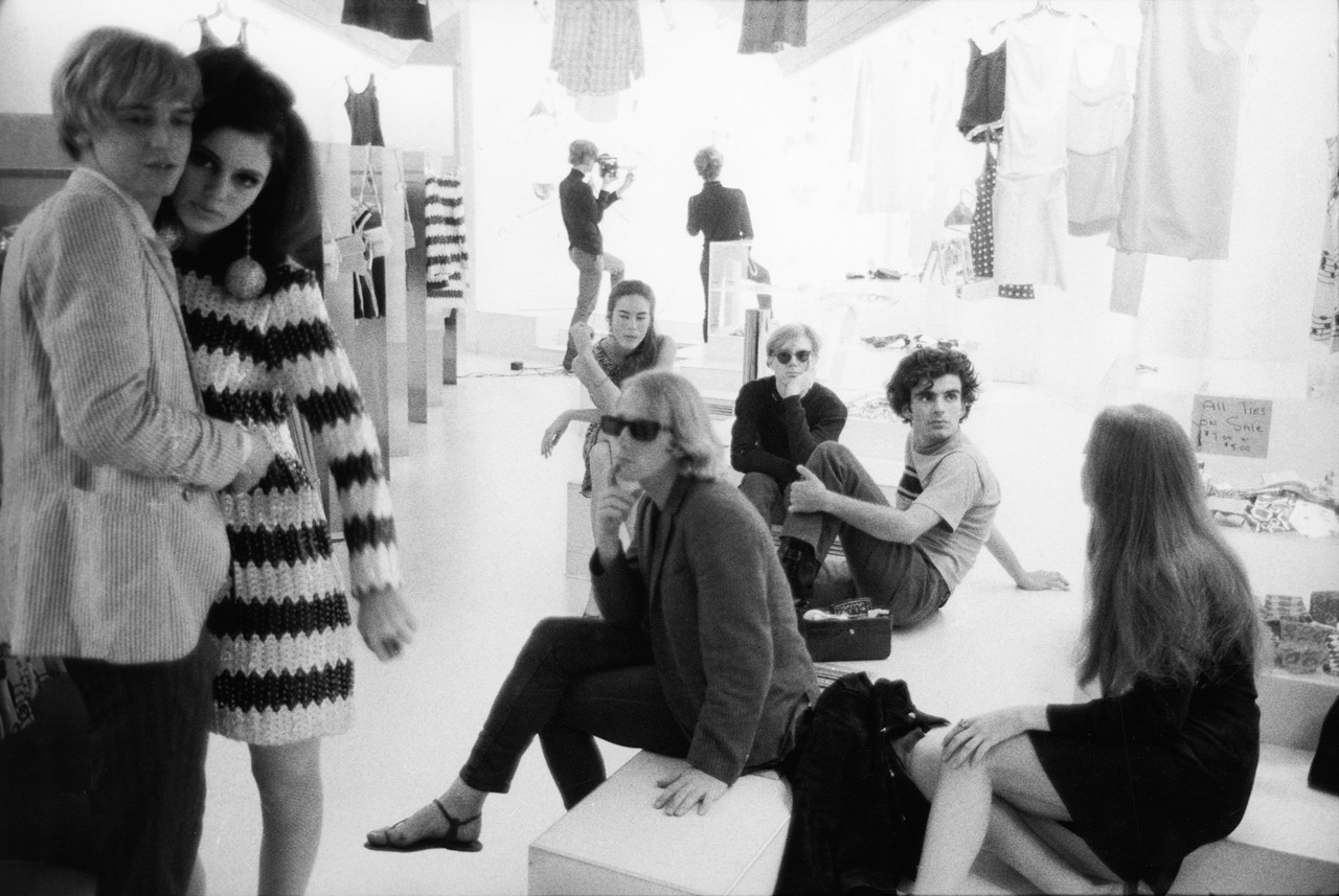 Stephen Shore, Rene Ricard, Susan Bottomly, Eric Emerson, unidentified woman, Mary (Might) Woronov, Andy Warhol, Ronnie Cutrone, Paul Morrissey, Edie Sedgwick. Paraphernalia's opening and show, 1966