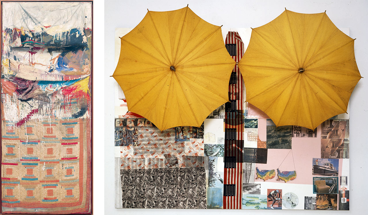 On the left Robert Rauschenberg, Bed, 1955 and on the right Untitled (Spread), 1983