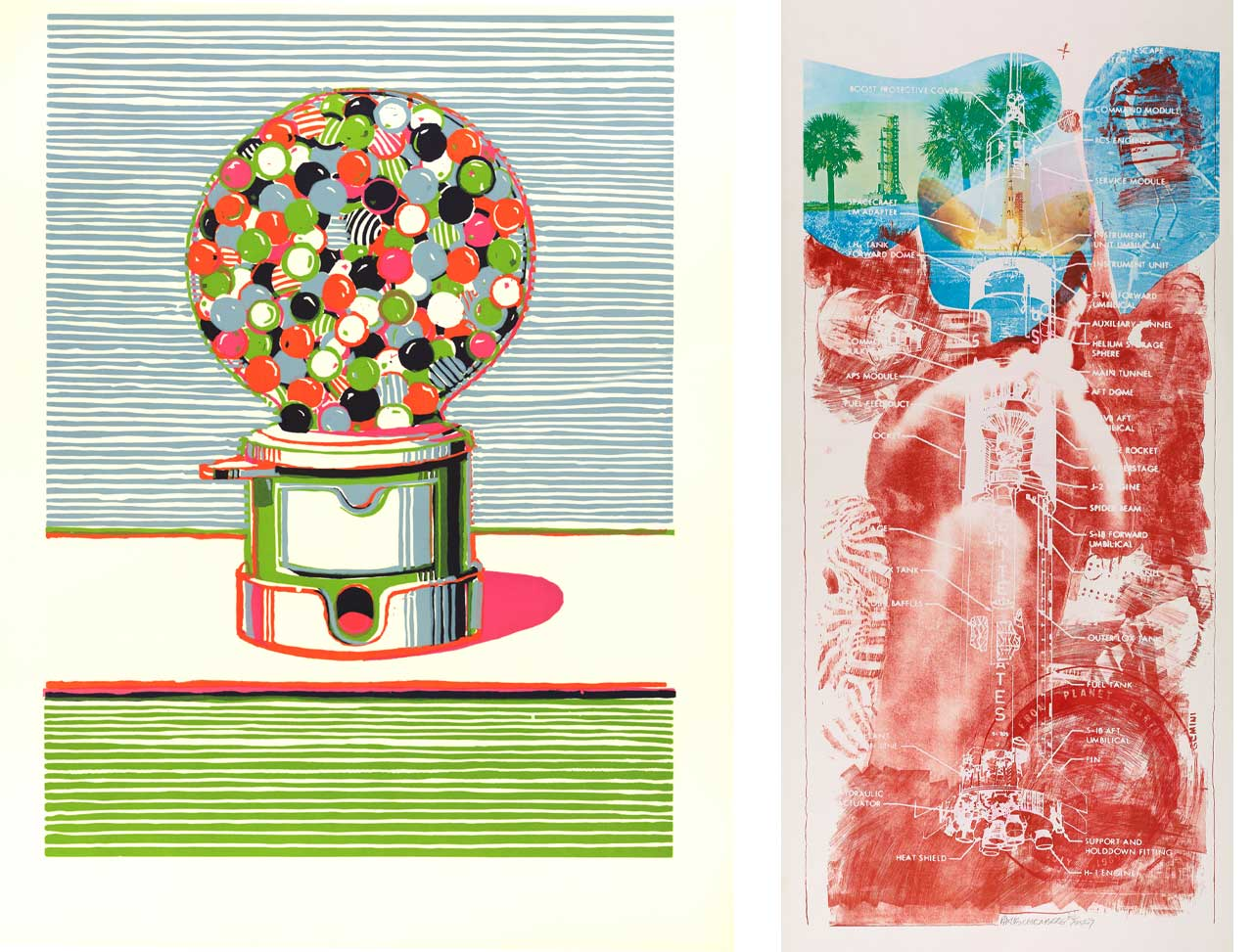 On the left Wayne Thiebaud, Gumball Machine, 1970 and on the right Robert Rauschenberg, Sky Garden, 1970