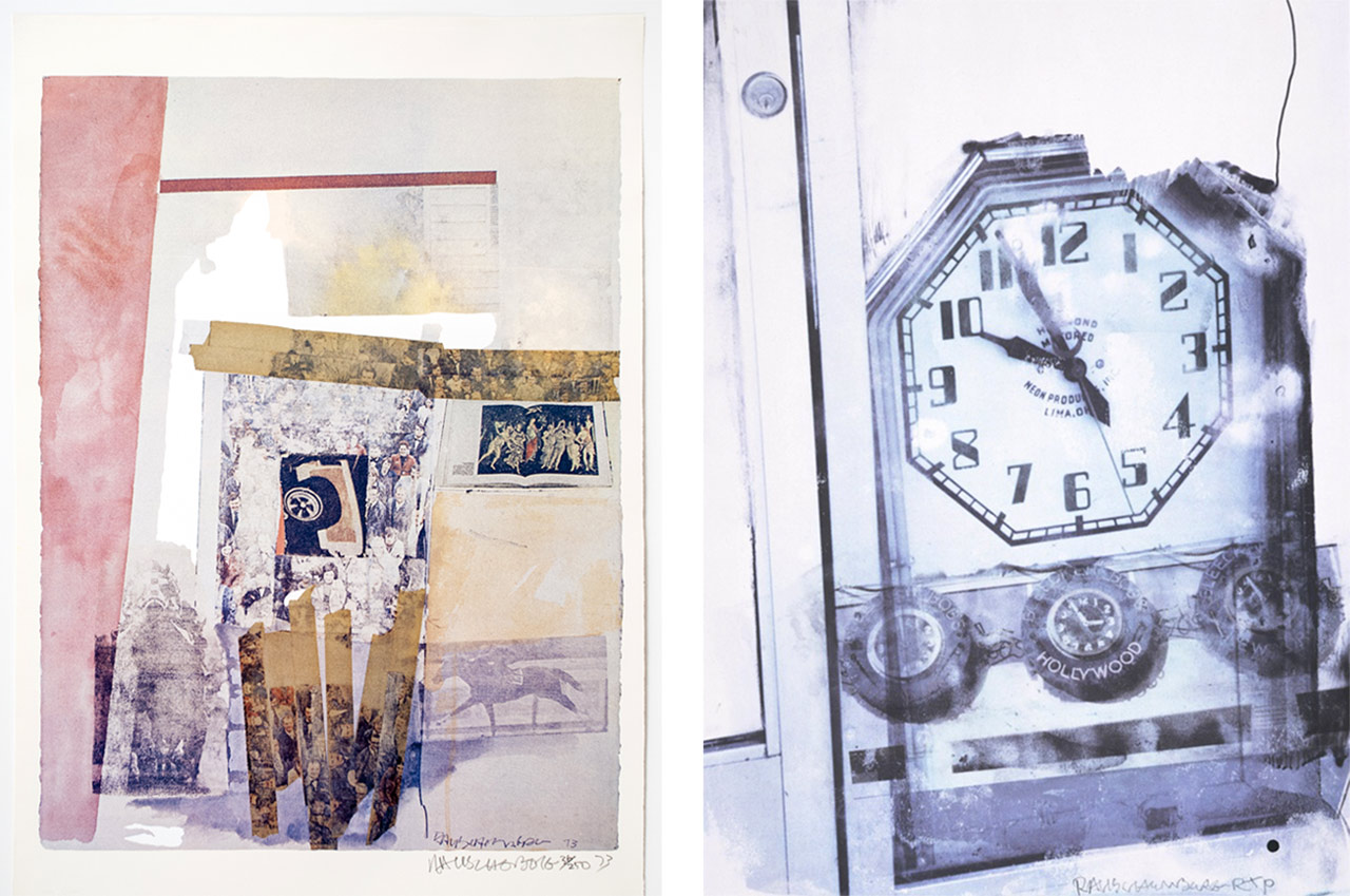 Robert Rauschenberg, Watermark, 1973 and on the right Robert Rauschenberg, Ten til Too, 2000