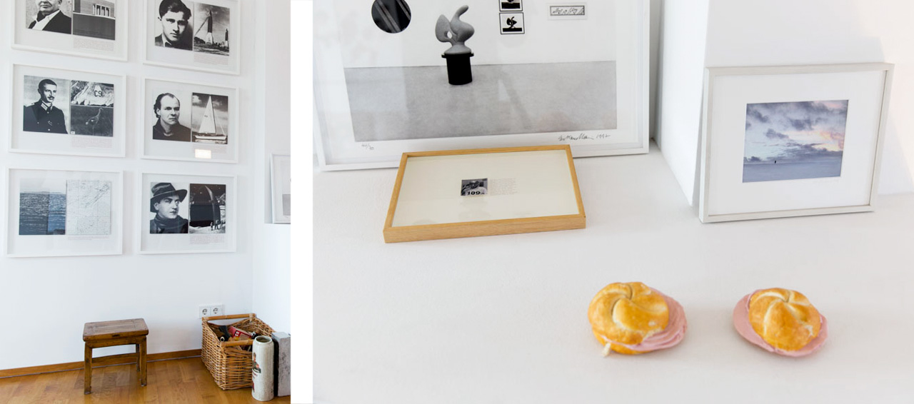 On the left Sven Johne, Vinta, 2004, 6 screenprints and on the right Viennese bread rolls by Erwin Wurm