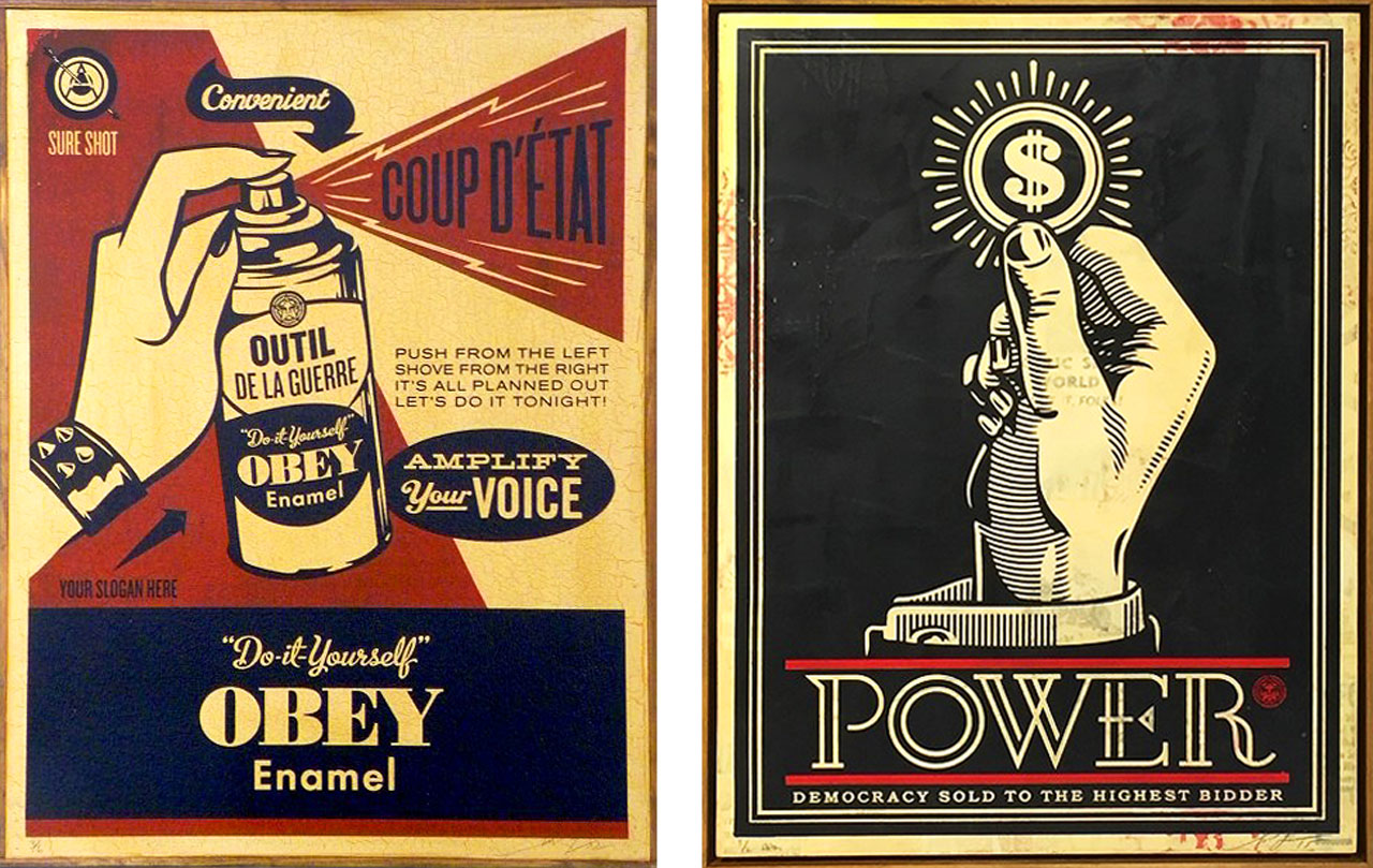 On the left Shepard Fairey, Obey Coup D'Etat (on wood), 2003 and on the right Power Bidder, 2015