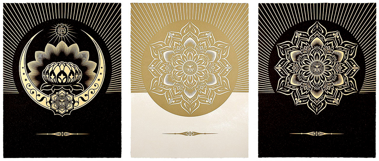 On the left Shepard Fairey's Obey Lotus Crescent (Black & Gold), 2013, in the middle Obey Lotus Diamond (White & Gold), 2013 and on the right: Obey Lotus Diamond (Black & Gold), 2013