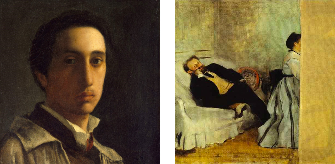 Edgar Degas self-portrait, 1856 and his painting of Monsieur et Madame Edouard Manet, 1869