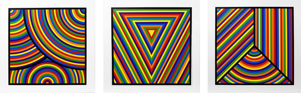 Sol LeWitt, Bands of Equal Width in Colour 1, 2 and 7, 2000. Linocut