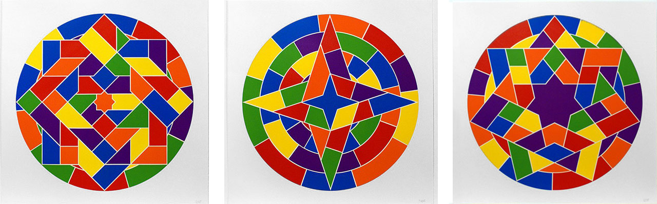 Sol LeWitt, Tondo, 6, 2 and 5, 2002. Linocut