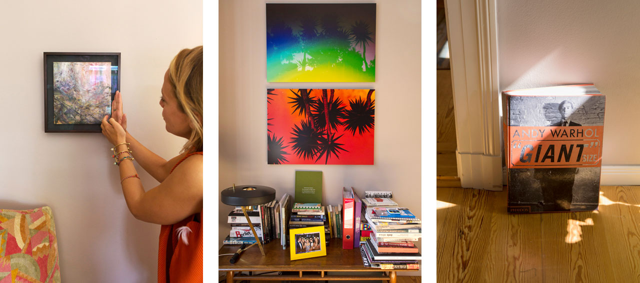On the left A pastel work by Matthias Düwel, in the middle two works by Kate Bellm and on the right Andy Warhol, Giant