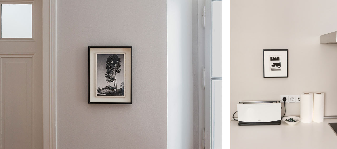 On the left Björn Braun, Untitled and on the right a view of Stephanie's flat