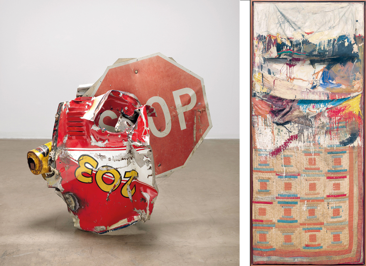 Left: Robert Rauschenberg, Stop Side Early Winter Glut, 1987, Metal signs and objects. Right: Robert Rauschenberg, Bed, 1955, Combine painting