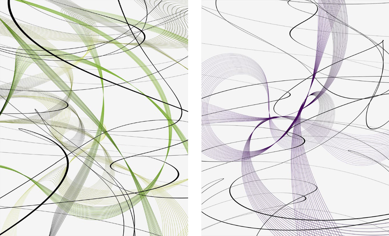 Thomas Ruff, Two from a set of three Cassini/Zycles, 2010, Digital ditones