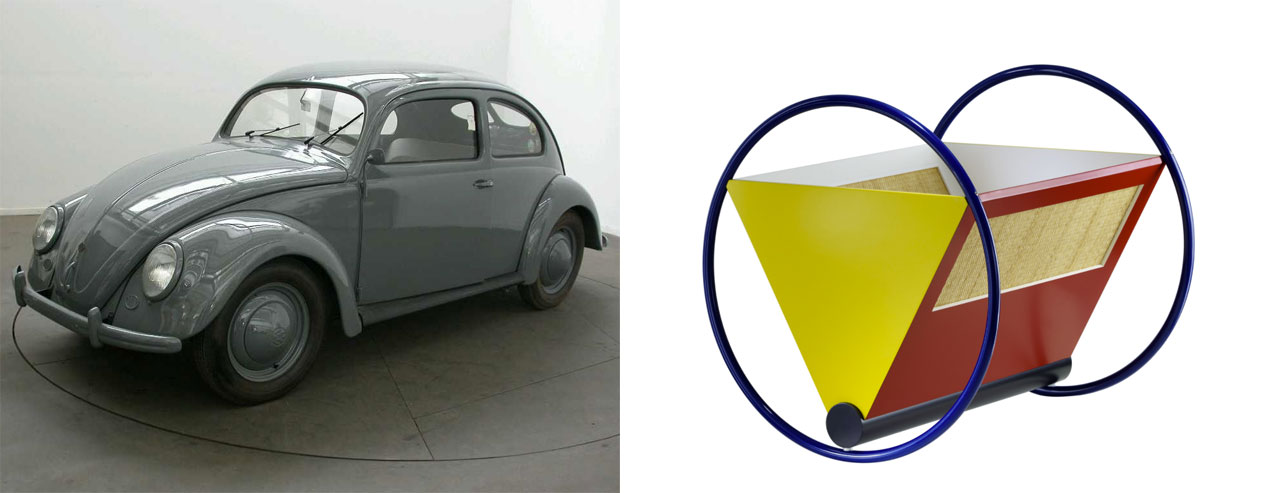 """On the left VW Beetle, so called """"Pretzel Beetle"""", 1952 and on the right Peter Keler, Bauhaus Cradle by TECTA, 1970ies Wood, metal, wickerwork"""