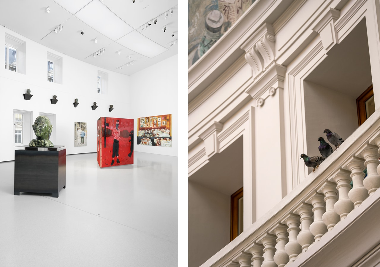 Left: Interior view Pinault Collection. Image: Aurélien Mole. Right: Maurizio Cattelan, Others, 2018. Courtesy of the artist and the Bourse de Commerce. Image: Marc Domage