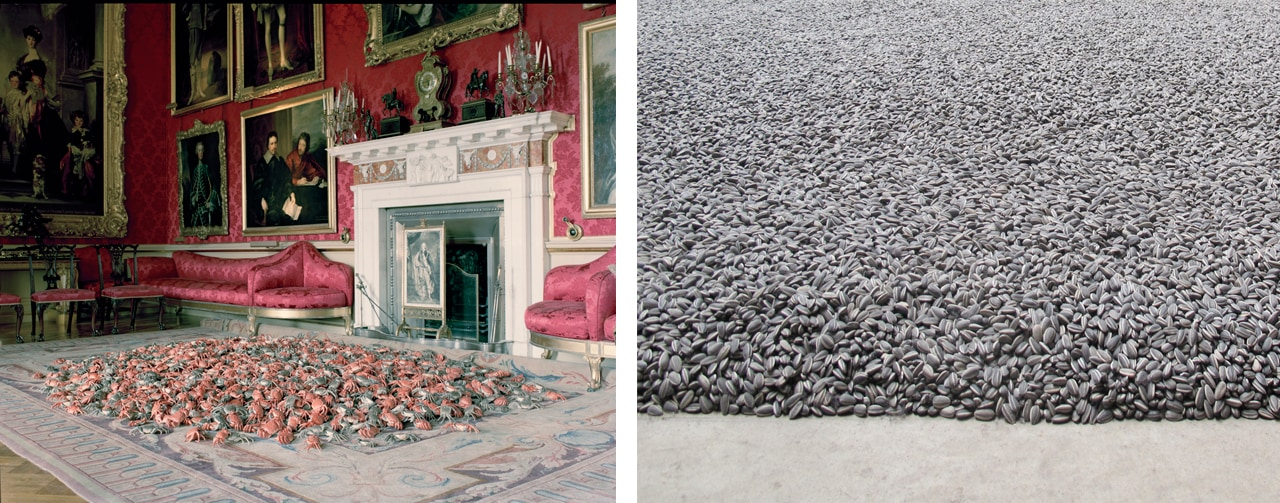 Left: Ai Weiwei at Blenheim Palace. Right: Sunflower Seeds at Tate Modern. Images: via Wikimedia Commons