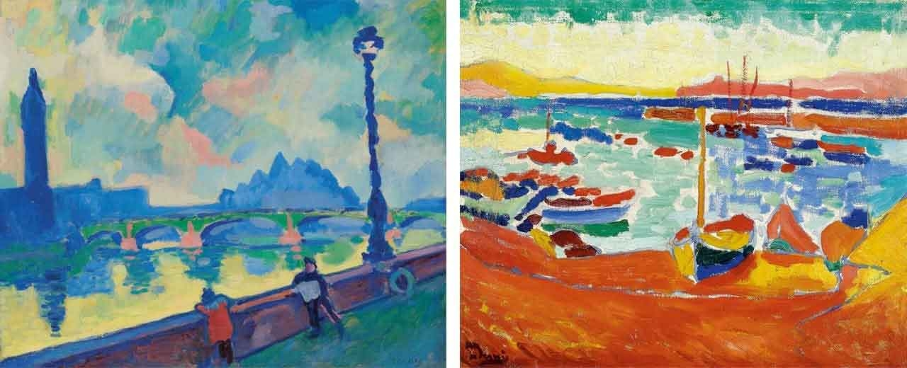 On the left André Derain, Londres: la Tamise au pont de Westminster and on the right André Derain, Bateaux a collioure