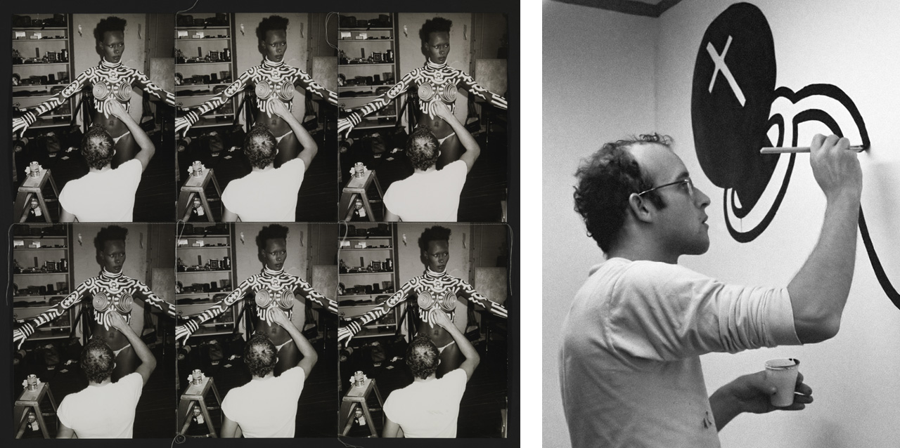 Left: Andy Warhol, Grace being painted by Keith, 1986.