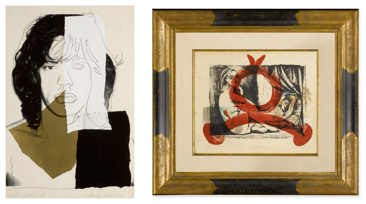 Left: Andy Warhol, Mick Jagger and on the right Pablo Picasso, Arabesque