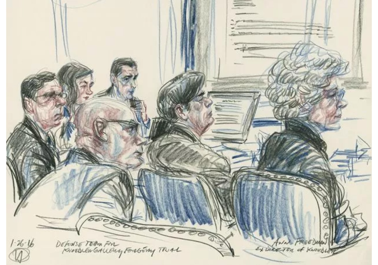 Ann Freedman and her legal team during the De Sole trial. Image: Courtesy Victor Juhasz and ArtNews