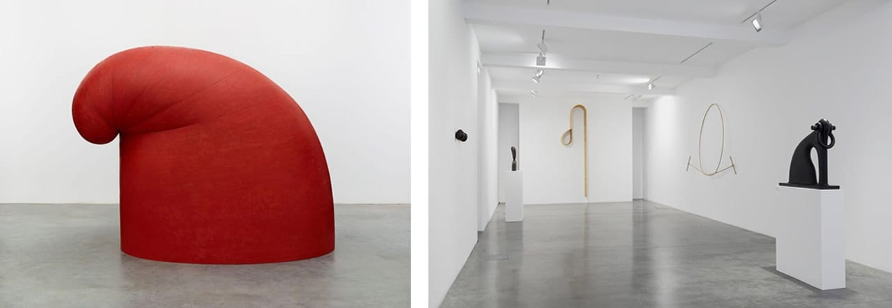 Left: Martin Puryear, Big Phrygian, 2010. Photo: Ron Amstutz. Courtesy of Matthew  Marks Gallery. © Martin Puryear. Right: Martin  Puryear, Installation view at Parasol unit, London, 2017. Photo: Benjamin Westoby