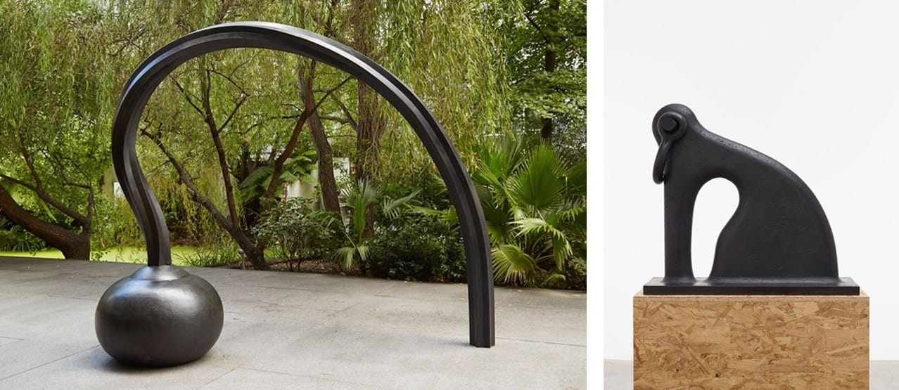 Left: Martin  Puryear, Question, 2013. Right: Martin  Puryear, Shackled, 2014.