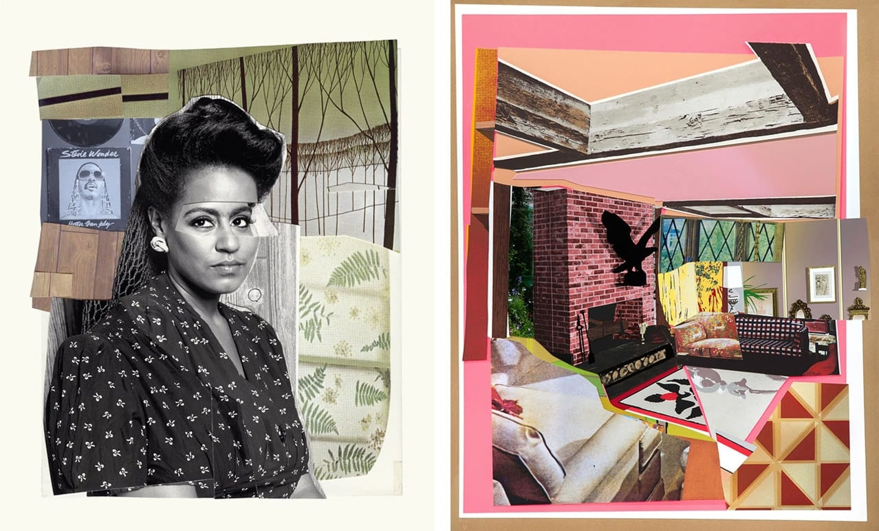 Left: Mickalene Thomas, Clarivel with Black Blouse with White Ribbon, 2016. Courtesy of Benefit Print Project and fineartmultiple, available to buy on fineartmultiple. Right: Mickalene Thomas, Interior: Fireplace with Blackbird, 2016. Courtesy of Durham Press and fineartmultiple, available to buy on fineartmultiple