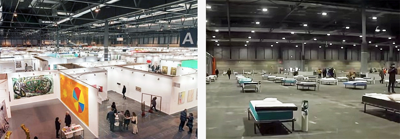 ArcoMadrid before and after. The left image was taken during the Arcomadrid art fair. The image on the right shows its current use as a field hospital to treat sufferers of Covid-19