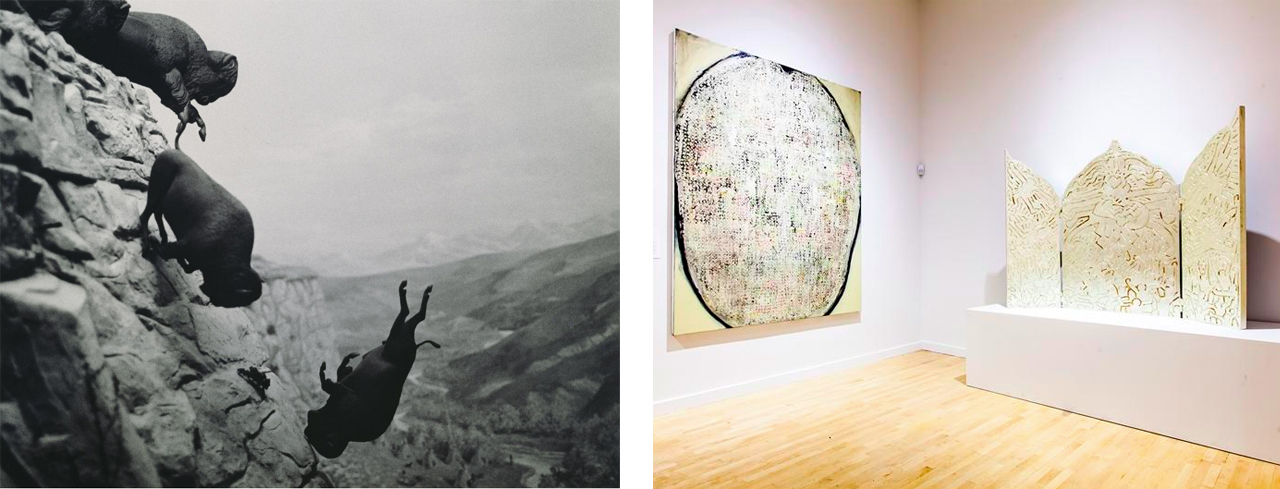 Left: David Wojnarowicz, Untitled (Buffalo), 1988–89, gelatin silver print. Right: Installation view of Art AIDS
