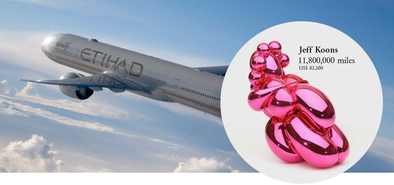 Image courtesy of Etihad Airways and on the right Jeff Koons, Balloon Venus