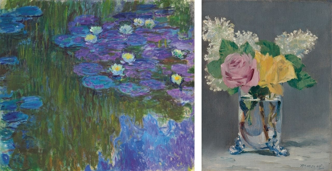On the left Claude Monet, Nymphéas en fleur, 1917 and on the right Edouard Manet, Lilas et roses, 1882