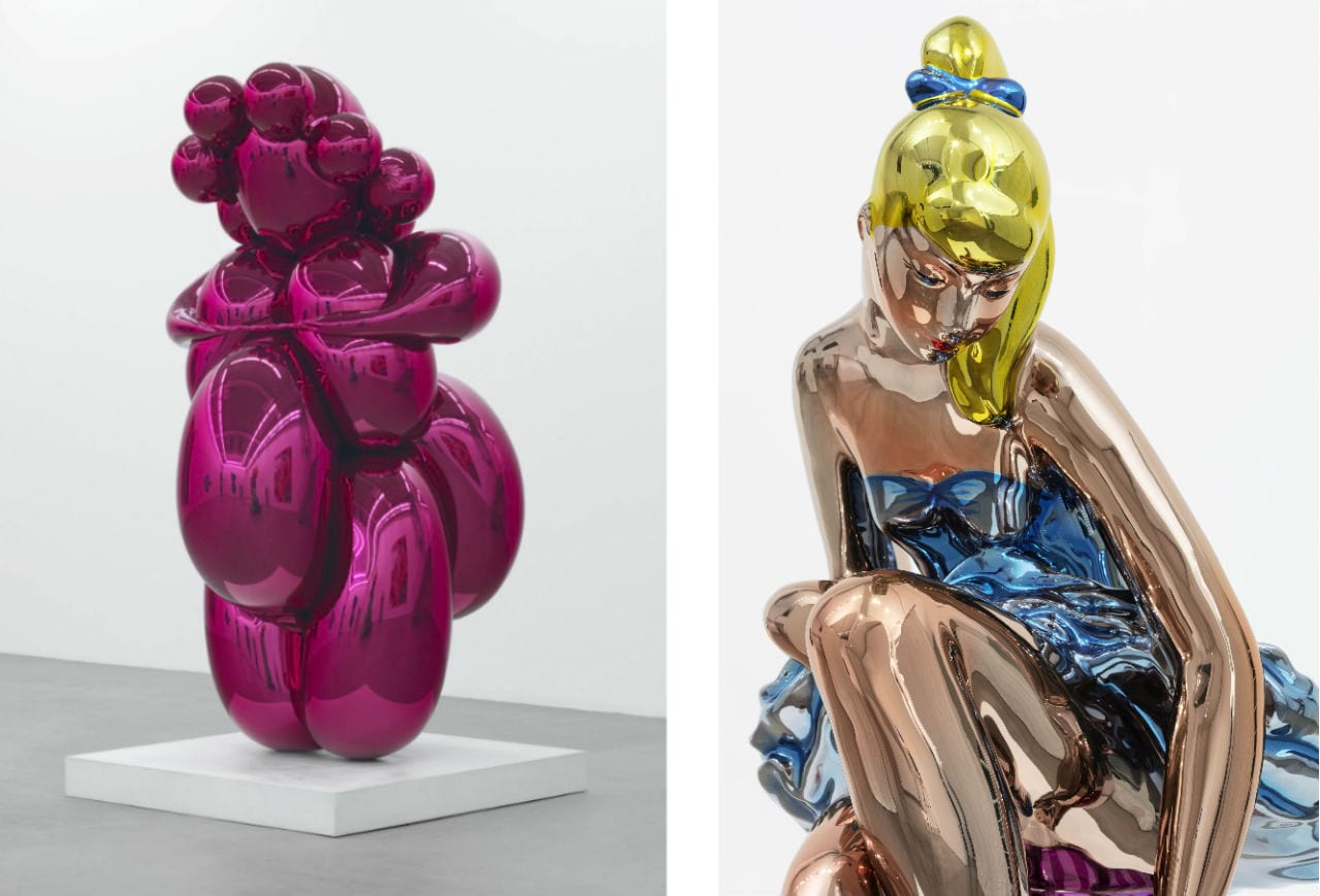 Left: Jeff Koons, Balloon Venus (Magenta), 2008-2012. Right: Jeff Koons, Seated Ballerina, 2010–2015. Both © Jeff Koons