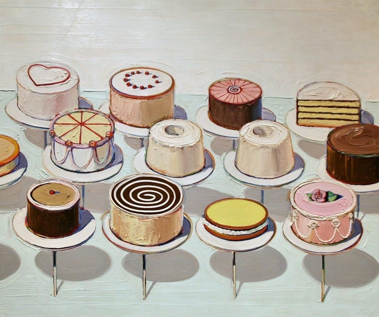Wayne Thiebaud, Cakes, 1963. Image: via Wikimedia Commons