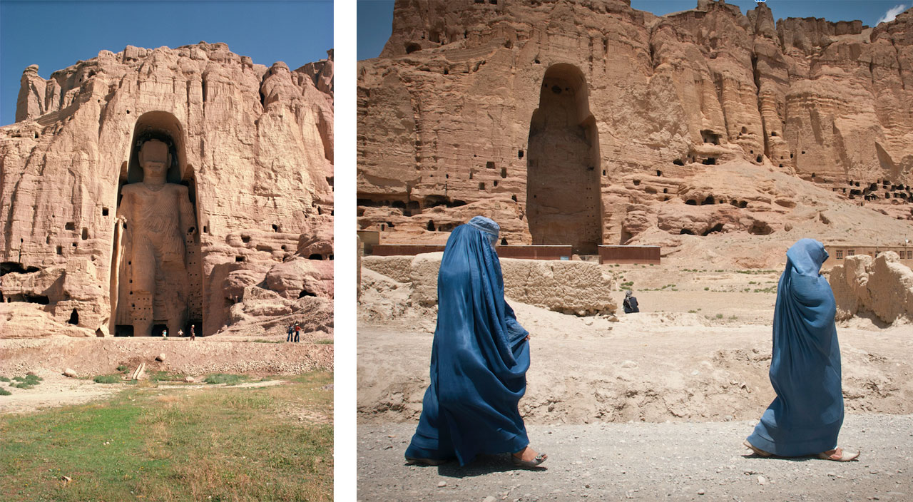 Before and after. Left: Bamiyan Buddha in the Bamiyan valley in Afghanistan which was subsequently destroyed by the Taliban in 2001. Right: Image: via Wikimedia Commons