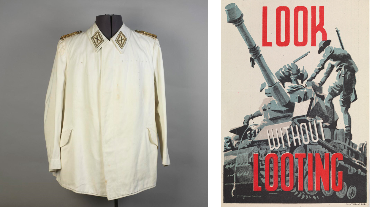 Left: Jacket, part of a self-designed uniform, which belonged to Hermann Goering, one of Adolf Hitler's most powerful senior officers. Right: British poster from 1915, which denounced German forces' destruction of culture and heritage in an effort to drive recruitment