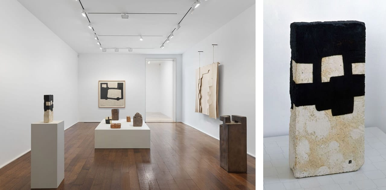 Left: Installation view, Eduardo Chillida, Hauser & Wirth, New York, 2018. Image:  EPW Studio. © Estate of Eduardo Chillida. Courtesy of The Estate and Hauser & Wirth. Right: Eduardo Chillida, Cemento G-152, 1989. © Estate of Eduardo Chillida. Courtesy of The Estate and Hauser & Wirth