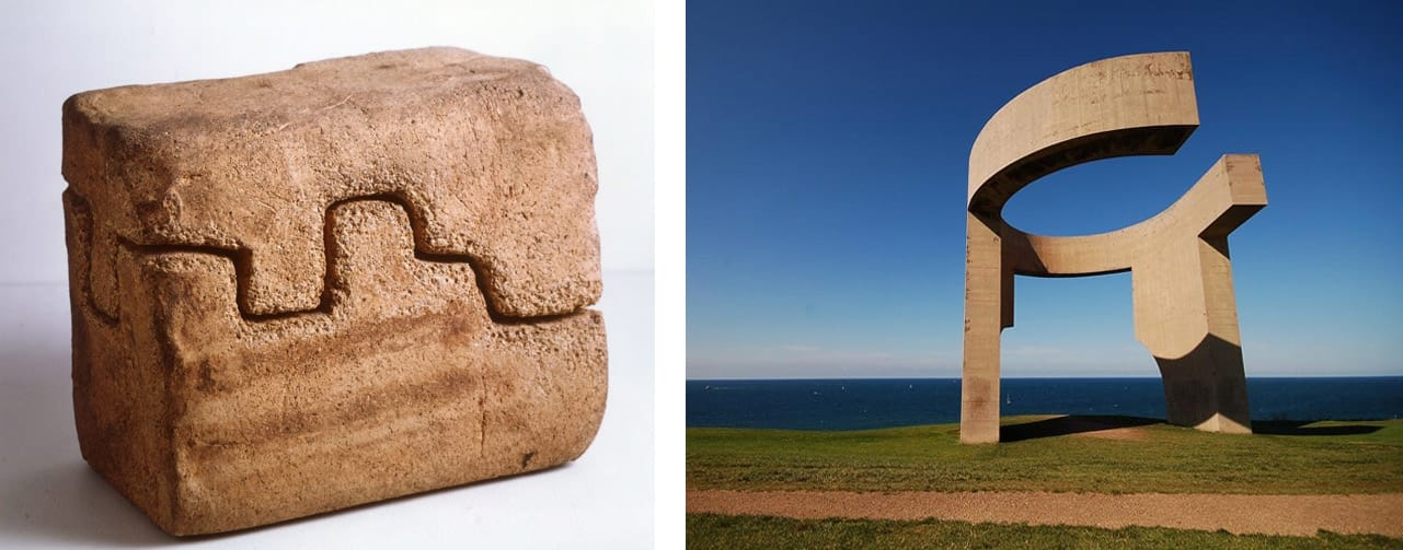 Left: Eduardo Chillida, Lurra 4, 1997. © Estate of Eduardo Chillida. Courtesy of The Estate and Hauser & Wirth. Right: Eduardo Chillida, Elogio del horizonte, 1990, Gijón, Principado de Asturias, Spain. Image: via Wikimedia Commons
