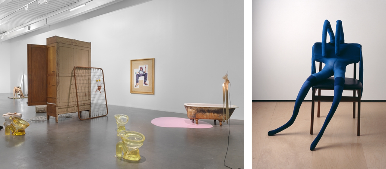 Left: Exhibition view of Sarah Lucas: Au Naturel, 2018, New Museum, New York. Photo: Maris Hutchinson / EPW Studio. Courtesy of New Museum, New York. Right: Sarah Lucas, Bunny Gets Snookered #8, 1997. © Sarah Lucas. Courtesy of Sadie Coles HQ, London